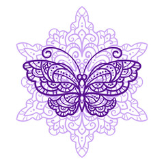 vector illustration, outline, mandala, butterflies, summer, doodle style, tattoo