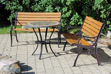 garden table and two benches