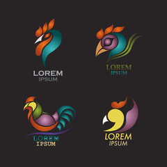 rooster logo design icon vector set