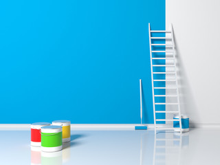 Repair in the room or apartment. Light blue painted wall, closed and open cans of different color painting, white staircase and paint roller in indoor interior with a reflective floor. 3d illustration
