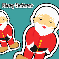 Flat Good Santa Claus and Merry Christmas banner on green background