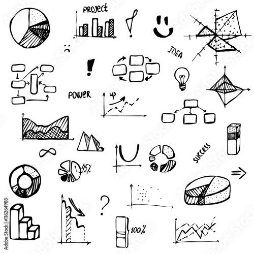 u0026quot set of hand drawing business diagram  histogram  pie