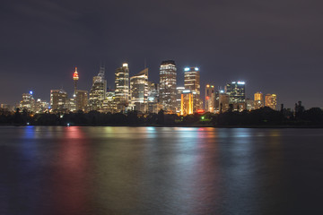 Night time view of Sydney city from Mrs Macquarie's chair