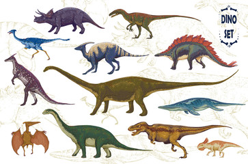 Dinosaurs cartoon collection, colorful set of fantasy cute monsters, animals and prehistoric character: Diplodocus, Tyrannosaurus Rex, Pterodactylus... Hand drawn vector illustration.