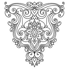 vector illustration, outline, design element, floral pattern, oriental style, boho