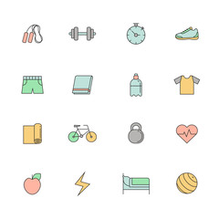 Fitness and sport multicolored outline icon vector set.