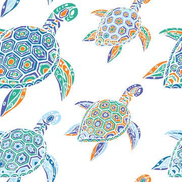 Nahtloses Muster / Texturkachel mit handgezeichneten imaginären farbigen Schildkröte