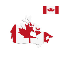 Canada map and flag on a white background