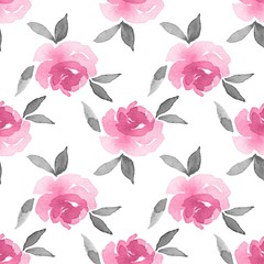 Roses. Watercolor background. Seamless pattern 16