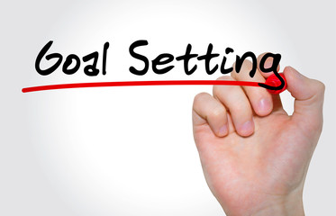 """Hand writing inscription """"Goal Setting"""" with marker, concept"""