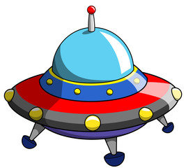 Cartoon ufo or alien ship craft isolated