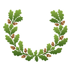 Artistic hand drawn illustration of oak wreath