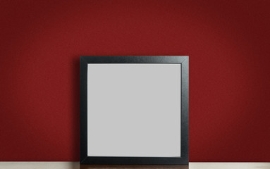 Think black photo frame on red background
