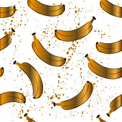 Seamless food fruit pattern with banana. Black White gold color