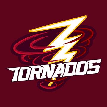 Tornado mascot for sport teams. Tornado with Lightning, logo, symbol on a dark background.