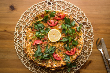 Lahmacun / Turkish pizza.
