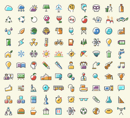 Set of 100 Minimalistic Solid Line Coloured Education and Ecology Icons. Isolated Vector Elements.