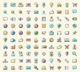 Set of 100 Minimalistic Solid Line Coloured Business, Multimedia and SEO Icons. Isolated Vector Elements.
