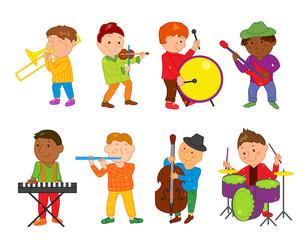 Cartoon musician kids. Vector illustration for children music