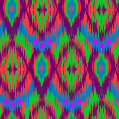 Ethnic folk seamless pattern Ikat Ogee, consisting in pastel colors. Boho style