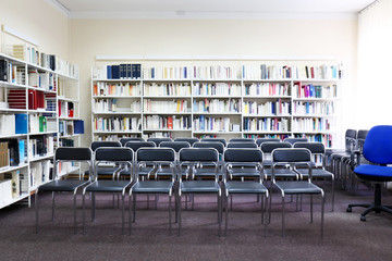Modern library interior with chairs