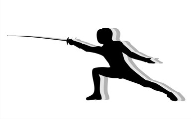 Silhouette with the sword practicing in fencing