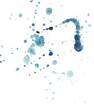Watercolor splashes and blots concept. Deep Blue splash. Elements for your design. Hand drawn