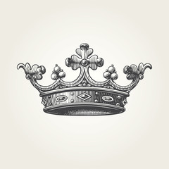 Hand drawn crown. Vintage engraved illustration