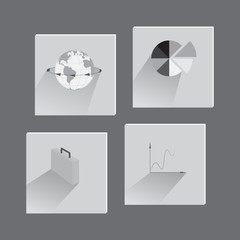 Set with Flat Icons on Business Theme