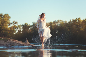 Woman running on water.