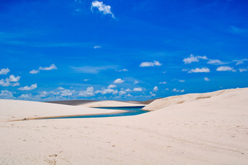 View of Lencois Maranhenses National Park, Brazil, flooded land,