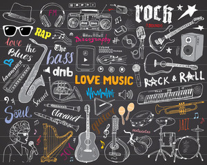 Music Instruments Set. Hand Drawn Sketch, Vector Illustration On Chalkboard.