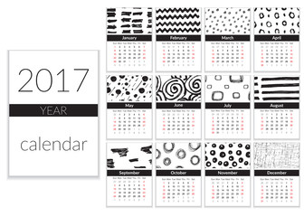 Calendar 2017 Year, A4 Cards Vector With Hand Drawn Textures, Week Starts Monday.