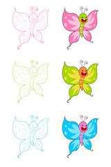 the butterfly cartoon set