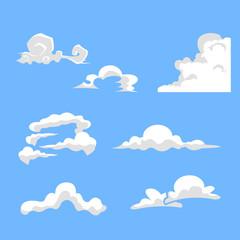 set of cartoon cloud variety