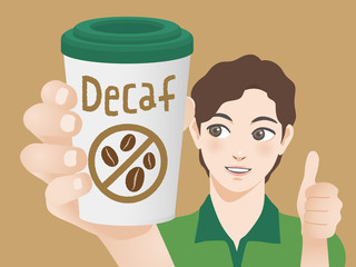 young man holding a cup of decaf coffee and pointing it, vector illustration