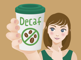 young woman holding a cup of decaf coffee and pointing it, vector illustration