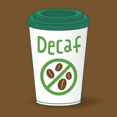 a paper cup of decaf coffee to go
