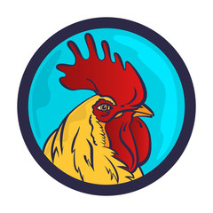 Rooster logo mascot. Isolated rooster head vector illustration.
