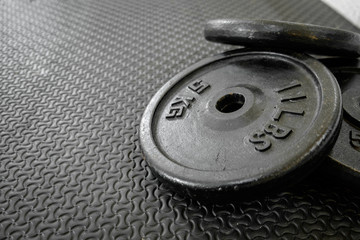 exercise weights - iron dumbbell with extra plates