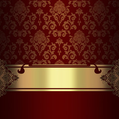 Decorative background with gold ornate border.