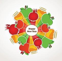 happy Rosh Hashanah, Jewish holiday. apples, pomegranates and honey as a traditional symbols