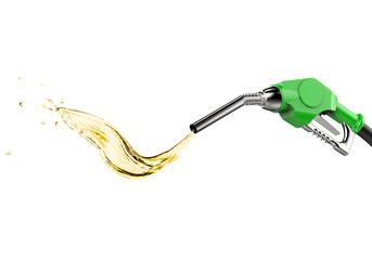 green gas pump nozzle with oil splash