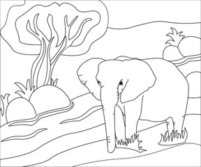 Illustration of hand drawing elephant