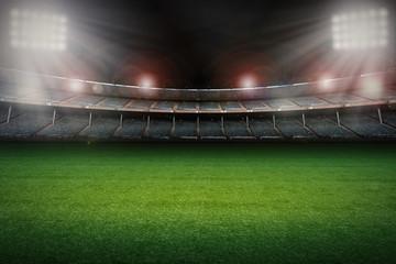 Fototapeta premium pusty stadion z boiskiem do piłki nożnej