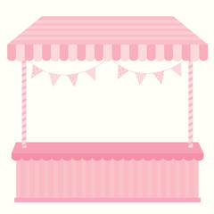 Illustration pink cute empty booth and kiosk for shop.