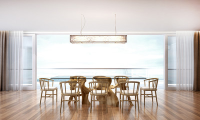 3D render dining room and sea view