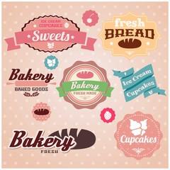 Retro set of bakery stickers