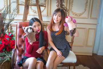 Two cute girl and Playing with Sock Puppets