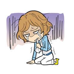 悔しくて泣き崩れる女性